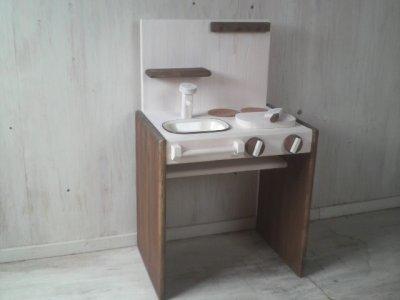 画像1: ままごとキッチン デスクタイプ 【オスモウォルナット×オスモホワイト】 セミオーダー品