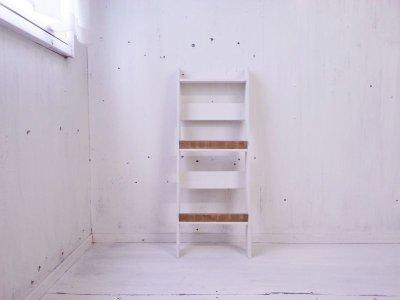 画像1: 無垢ヒノキで造る マガジンラック2段 小 【オスモオーク×ミルキーホワイト】 セミオーダー品