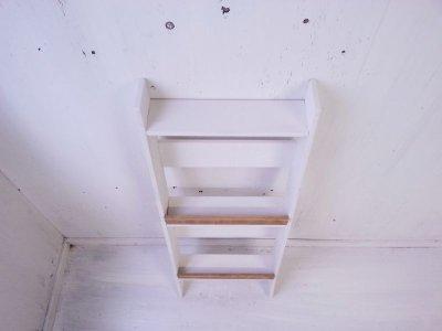 画像2: 無垢ヒノキで造る マガジンラック2段 小 【オスモオーク×ミルキーホワイト】 セミオーダー品