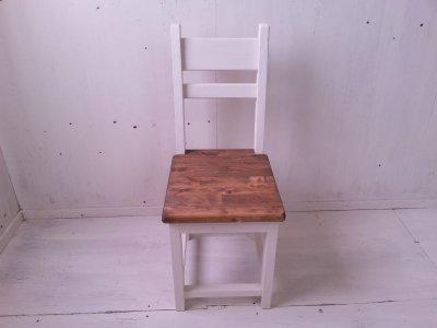 画像1: 無垢ヒノキで造る チェア 椅子 イス 【オスモウォルナット×ミルキーホワイト】 セミオーダー品