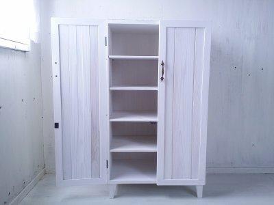 画像2: ナチュラルテイスト キャビネット 観音開きタイプ 扉付 収納棚 【ホワイト】 セミオーダー品