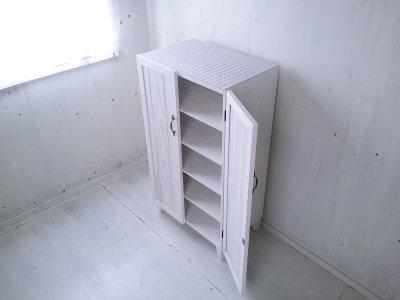 画像1: ナチュラルテイスト キャビネット 観音開きタイプ 扉付 収納棚 【ホワイト】 セミオーダー品