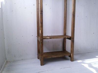 画像3: 無垢材で造る ナチュラルテイスト ハンガーラック h1550 【ステインオーク】 セミオーダー品