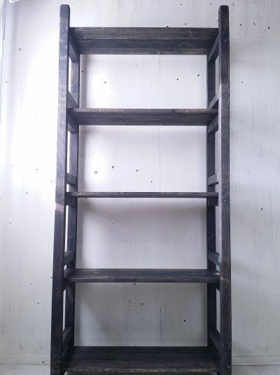画像1: 無垢材で造る ナチュラルテイスト ラック 商品棚 h1800 w800 【オスモブラック】 セミオーダー品
