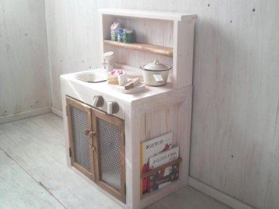 画像2: ままごとキッチン 扉付き カップボードタイプ 背面板あり