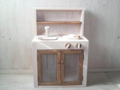 画像3: ままごとキッチン 扉付き カップボードタイプ 背面板あり