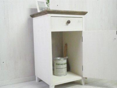 画像1: 無垢ヒノキで造る サイドキャビネット サイドデスク