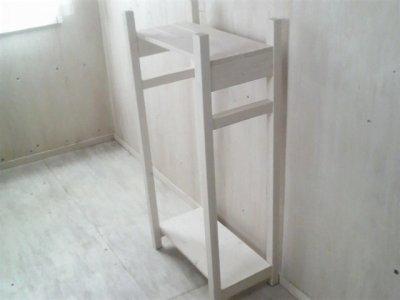 画像1: 無垢材で造る ハンガーラック 【ミルキーホワイト】 セミオーダー品