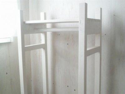 画像3: 無垢材で造る ハンガーラック 【ミルキーホワイト】 セミオーダー品