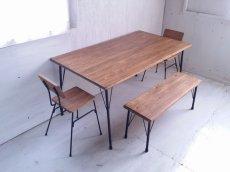 画像7: 無垢ヒノキで造る家具 アンティーク風 ダイニングテーブル 鉄脚 アイアン脚  (7)