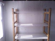 画像2: 無垢材で造る ナチュラルテイスト ラック 商品棚 h1800 w1050 d450 【ミルキーホワイト×オスモオーク】 セミオーダー品 (2)