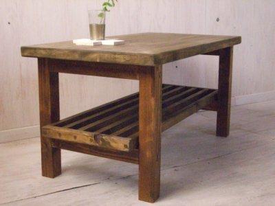 画像1: 無垢ヒノキで造る 棚付 ローテーブル・コーヒーテーブル