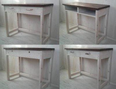 画像3: 無垢ヒノキで造る パソコンデスク 学習机 ミシン台 【type1】