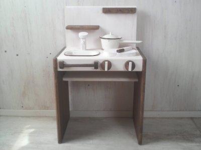 画像3: ままごとキッチン デスクタイプ 【オスモウォルナット×オスモホワイト】 セミオーダー品