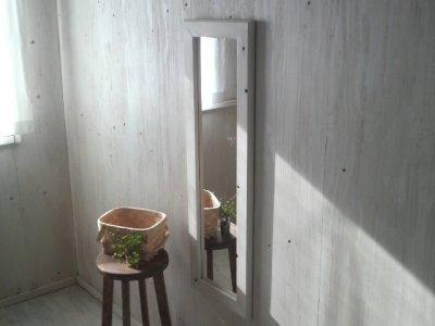 画像1: 無垢材で造る 姿見鏡 ミラー 床置き・壁掛け