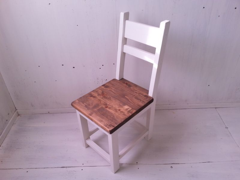 画像1: 無垢ヒノキで造る チェア 椅子 イス 【オスモウォルナット×ミルキーホワイト】 セミオーダー品 (1)