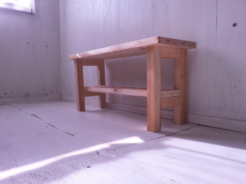 画像1: 無垢ヒノキで造る 棚付 ローテーブル・コーヒーテーブル 【無塗装】 セミオーダー品 (1)