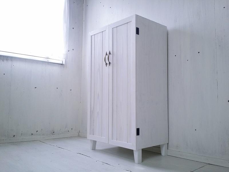画像1: ナチュラルテイスト キャビネット 観音開きタイプ 扉付 収納棚 【ホワイト】 セミオーダー品 (1)
