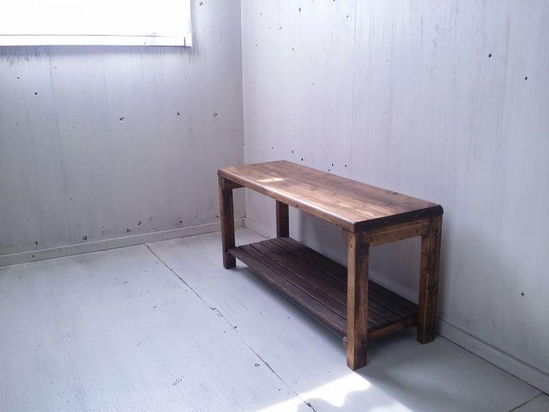 画像1: 無垢ヒノキで造る ベンチ ロングスツール 飾り棚 【オスモウォルナット】 セミオーダー品 (1)