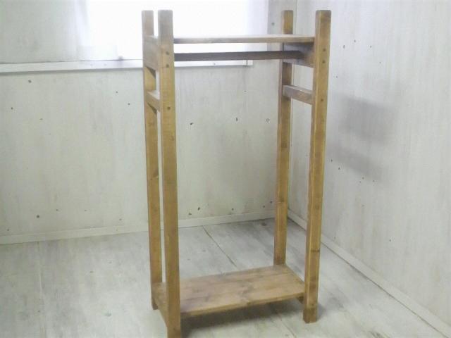 画像1: 無垢材で造る ナチュラルテイスト ハンガーラック 【オスモオーク】 セミオーダー品 (1)