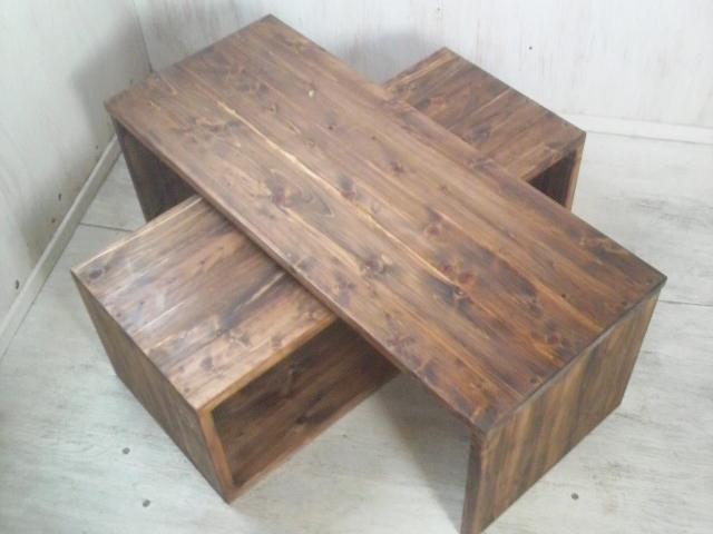 画像1: テレビボード&コーヒーテーブル 【ステインオーク】 フルオーダー品  (1)