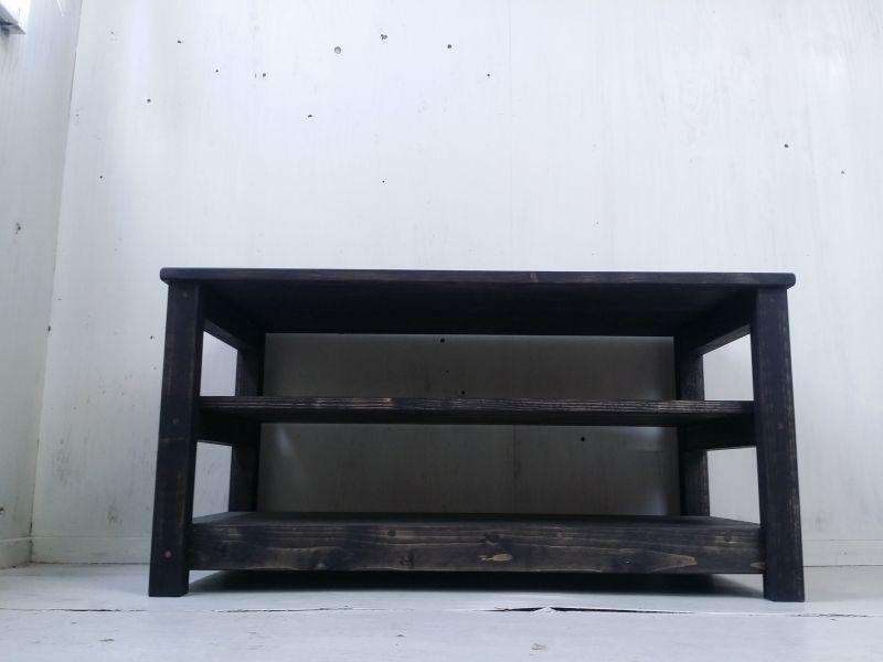 画像1: 無垢材のナチュラルテイスト テレビボード aタイプ 【オスモブラック】 セミオーダー品 (1)