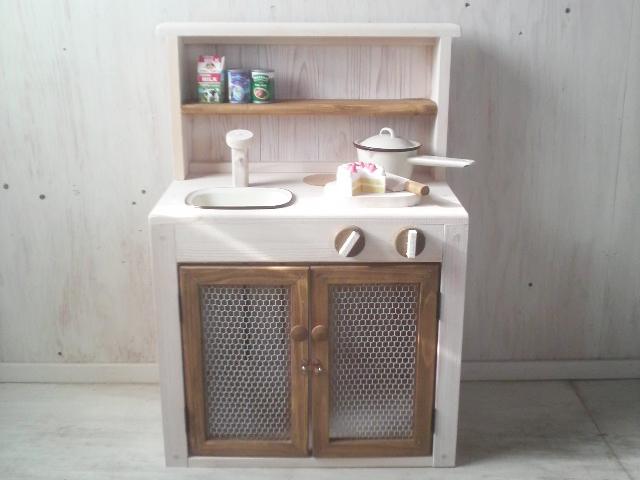 画像1: ままごとキッチン 扉付き カップボードタイプ 背面板あり (1)