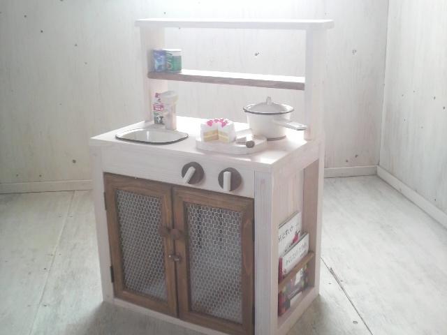 画像1: ままごとキッチン 扉付き カップボードタイプ 背面オープン (1)