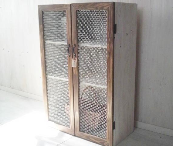 画像1: ナチュラルテイスト キャビネット 観音開きタイプ 扉付 収納棚 (1)