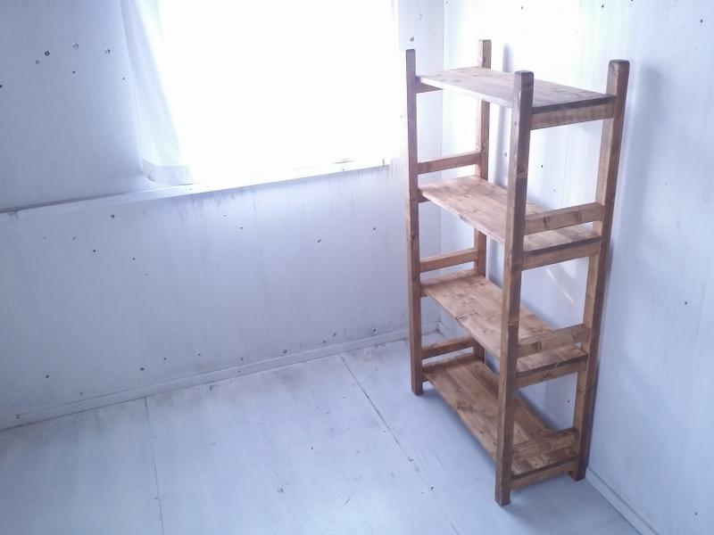 画像1: 無垢材で造る ナチュラルテイスト ラック 商品棚 h1450 w750 【オスモオーク】 セミオーダー品 (1)