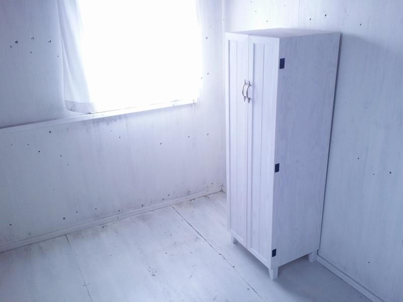 画像1: ナチュラルテイスト キャビネット 観音開きタイプ 扉付 収納棚 h1520 【ホワイト】 セミオーダー品 (1)
