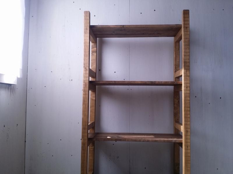 画像1: 無垢材で造る ナチュラルテイスト ラック 商品棚 h1450 w750 【オスモウォルナット×オスモオーク】 セミオーダー品 (1)