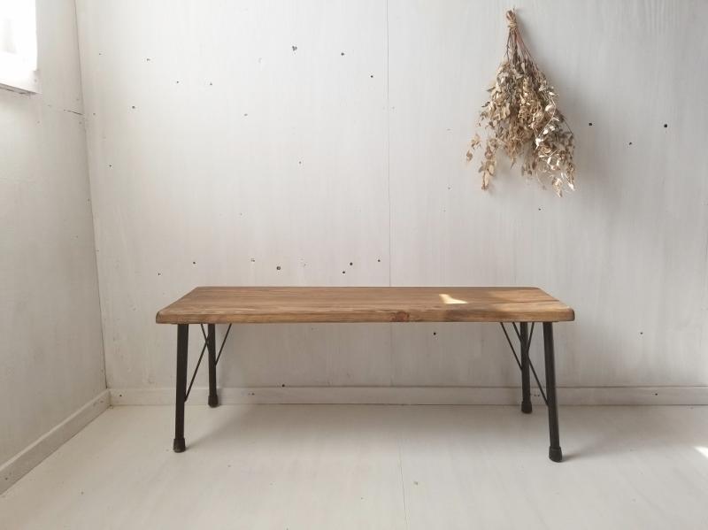 画像1: 無垢ヒノキで造る家具 アイアン脚ベンチスツール 鉄脚ベンチチェア (1)