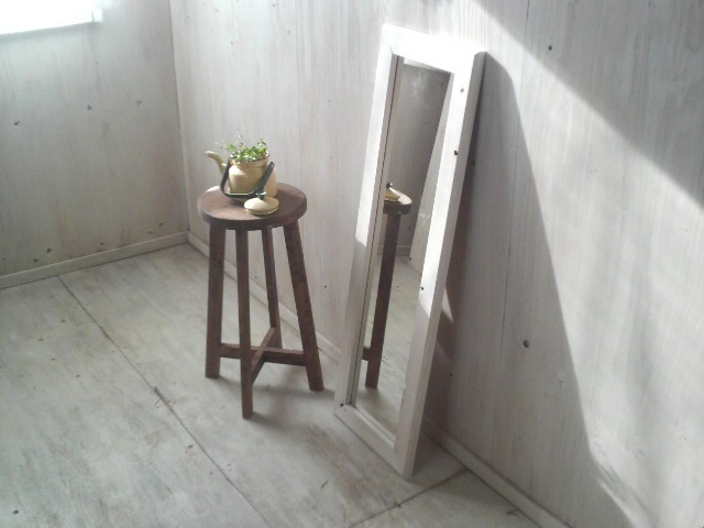 画像1: 無垢材で造る 姿見鏡 ミラー 床置き・壁掛け (1)