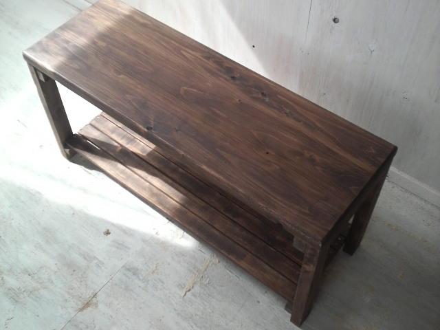 画像1: 無垢ヒノキで造る ベンチ ロングスツール 【オスモウォルナット】 セミオーダー品 (1)
