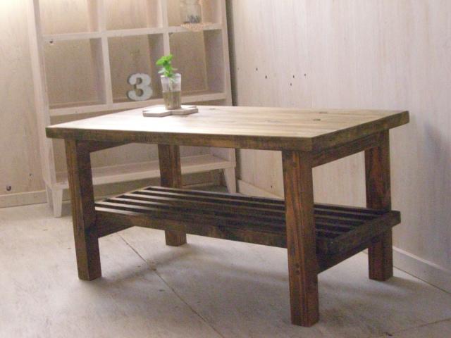 画像1: 無垢ヒノキで造る 棚付 ローテーブル・コーヒーテーブル   (1)